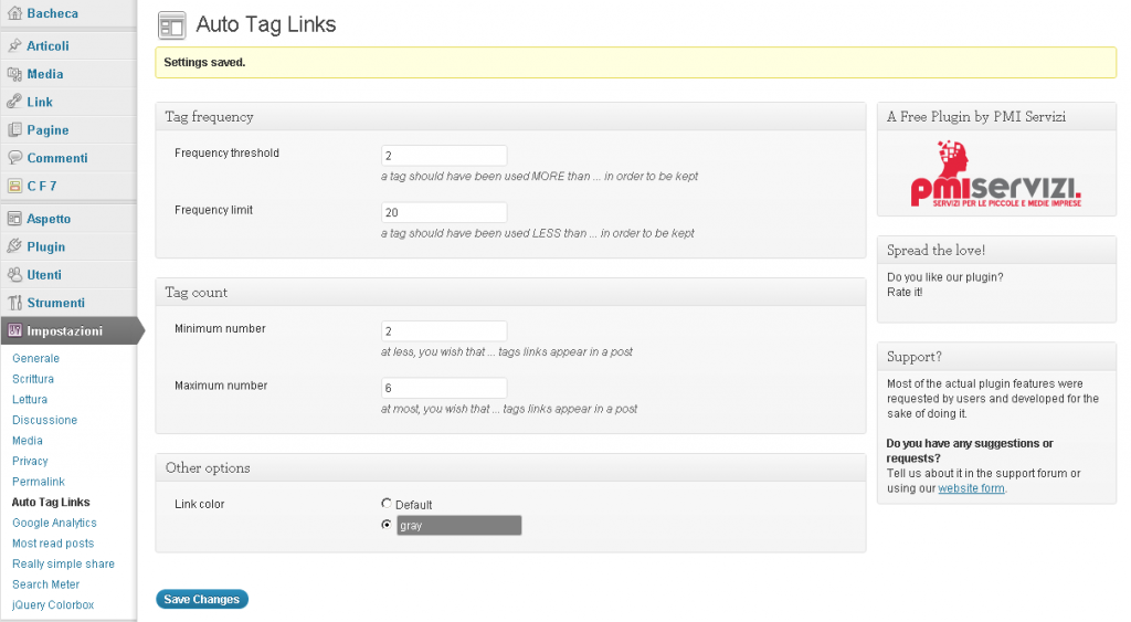 schermata opzioni Auto Tag Links